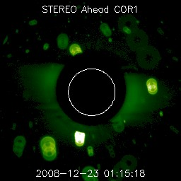 Debris event observed by the STEREO Ahead COR1 telescope on December 23, 2008