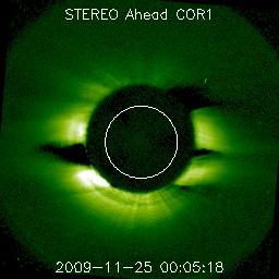 STEREO Ahead COR1 image avec des zones sombres